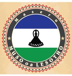 Vintage label cards of Lesotho flag vector