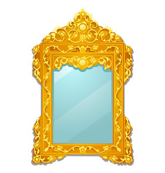 Vintage mirror with golden ornate florid frame vector