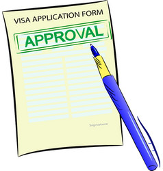 visa application form with approval stamp vector image