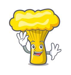 Waving chanterelle mushroom character cartoon vector