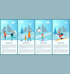 Wintertime placards and text vector