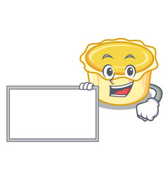 With board egg tart character cartoon vector