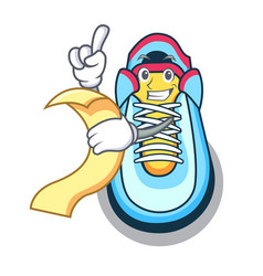 with menu cartoon sneaker with rubber toe vector image