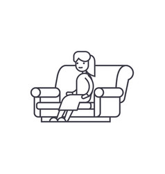 woman sitting on the sofa line icon sign vector image