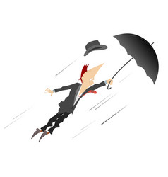 young man umbrella and windy day isolated vector image