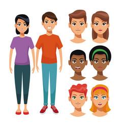 Young people cartoon vector
