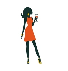 An of chic party girl posing with vector image