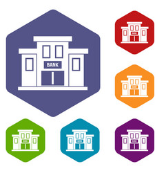 bank building icons set vector image