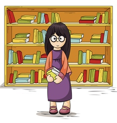 Girl with books in their hands vector image