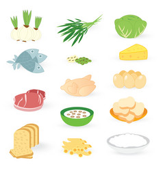 set bakery vegetable and meat isolated on white ba vector image vector image