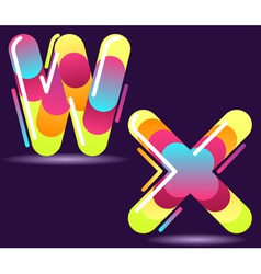 two letters of alphabet in disco style vector image vector image
