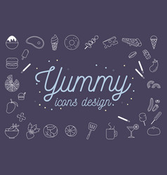 yummy icons design set vector image