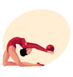 beautiful flexible girl in leotard doing rhythmic vector image