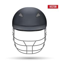 Black Cricket Helmet Front View vector image vector image
