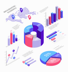 isometric infographic elements with charts vector image vector image