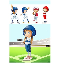 Kids in baseball uniform in the field vector image