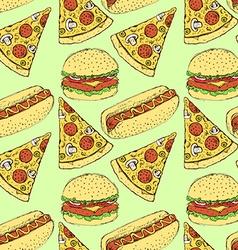 Sketch fast food in vintage style vector image vector image