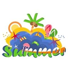 bright summer logo vector image