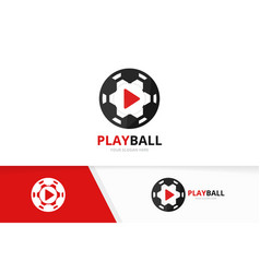 button play and soccer logo combination vector image