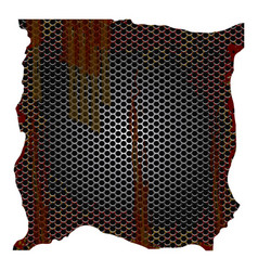 dirty and rusted metallic grill perforated vector image