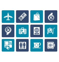 Flat airport travel and transportation icons 1 vector image