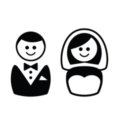 Married couple icons - groom and bride vector image vector image