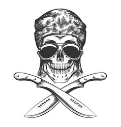 skull with machete vector image vector image