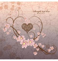 Vintage ornamental frame heart on grunge vector image vector image
