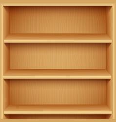 empty wooden bookshelves vector image