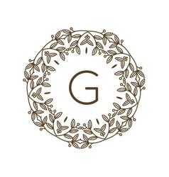 monogram g logo and text badge emblem line art vector image