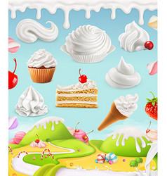 Whipped cream milk cream ice cream cake cupcake vector image vector image