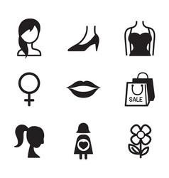 woman symbol icon set vector image vector image