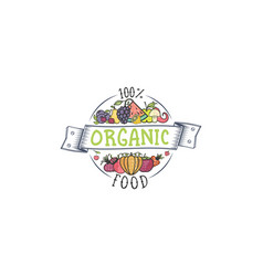 100 percent organic fruits and vegetables vector image