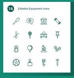 16 equipment icons vector