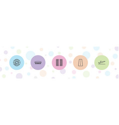 5 airplane icons vector