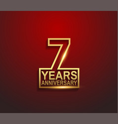 7 years golden anniversary line style isolated vector