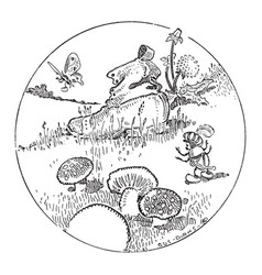An ant discovering a boot next to some mushrooms vector