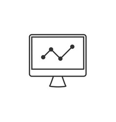 analytics chart graph line icon simple modern vector image