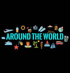 Around world horizontal banner vector