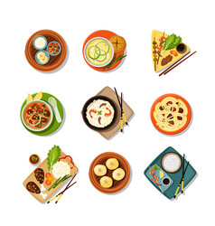 asian food with dishes top view set tasty east vector image