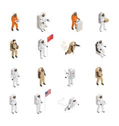 Astronauts cosmonauts spacesuit isometric set vector