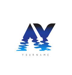 Ay a y letter logo design with water effect vector