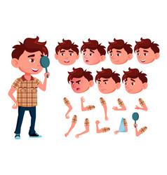 Boy child caucasian face emotions vector