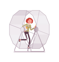 Businesswoman in a mouse wheel vector
