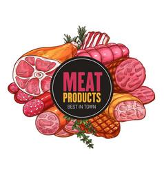 Butcher shop farm meat vector