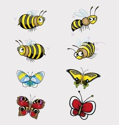 Butterfly and Bee Collection vector image