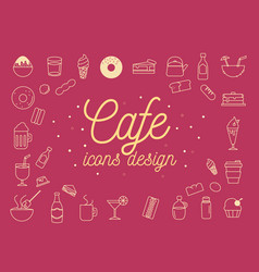 Cafe icons design set vector