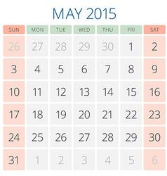 Calendar 2015 May design template vector