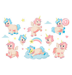 cartoon unicorns fairy tale little animals in sky vector image