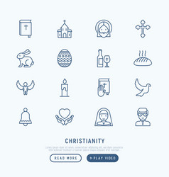 christianity thin line icons set vector image